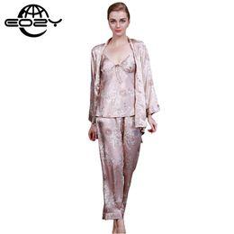 Wholesale dragon pajamas - Wholesale- Women Sexy Imitated Silk Fabric Pajamas 3Pcs Sets Dragon Print Pyjamas Sleepwear Loungewear Lady Nightwear Nightgown