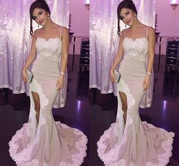 Wholesale Charming Pleats Mermaid Trumpet Sweetheart - Sexy Charming Long Mermaid Evening Dresses Appliques Side Split Satin Formal Party Prom Dresses Evening Gowns