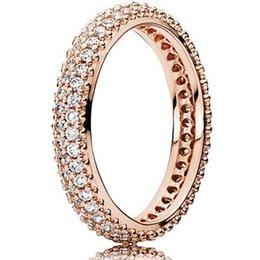 Wholesale Inspiration White - New Silver European Pandora Style Charm Jewelry Rose Gold Plated Inspiration Within Clear CZ Ring for Women