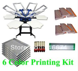 Wholesale Print Screen Equipment - FAST and FREE shipping silk screen printing SIX color 6 station kit press equipment stretched frame squeegee