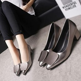 Wholesale Careers Wine - 2018 spring and autumn season, new pointed foot set women's shoes classic wine, red Bridesmaid shoes heel dress shoes size 34 ~ 40