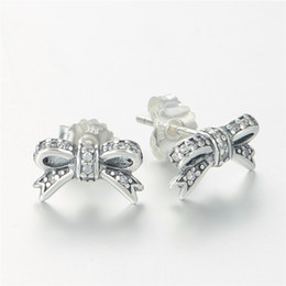 Wholesale Pandora Bow - BOW SUD EARRINGS S925 sterling silver fits pandora style jewellery charms free shipping best quality aleer115