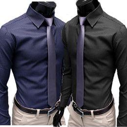 Wholesale High Collar Slim Fit Shirt - Wholesale- 2016 high quality autaum boss men stripes social shirts long casual black dress shirt business office slim fit camisa masculina