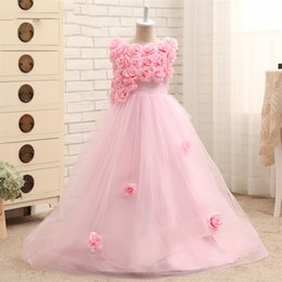 Wholesale Buy Pageant Dresses Girl - High Buy Charming 2017 Flower Girl Dresses With Flowers Long Custom Tulle Toddler Girls Pageant Dresses With Train Real Images