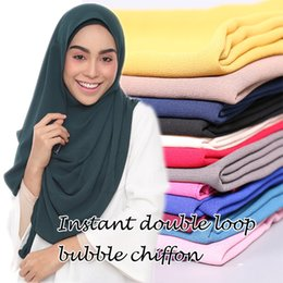 Wholesale Bubble Scarves - Wholesale- Malaysia hot selling design instant double loop bubble chiffon scarf  shawls two face hijab muslim 23 color scarves scarf