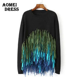 Wholesale Sweaters For Ladies - Wholesale-Ladies Black Tassel Sweaters and Pullovers for Women Long Sleeve Pull Femme Knitted Fringe Jumpers White Knitwear Tops Clothing