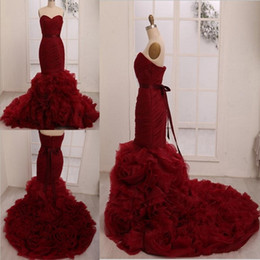 Wholesale Silver Wine Red Wedding - Formal Wedding Dresses Leighton Meester Celebrity 2016 Plus Size Custom Made Wine Red Burgundy Flouncing Organza Cheap Wrap Bridal Gowns