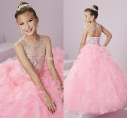 Wholesale Formal Wear Skirts - Baby Pink Cute Glitz Girl's Pageant Dresses Sheer Neck Backless Beaded Crystals Rhinestones Princess Kid's Formal Wear with Tiers Skirts