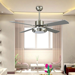 Wholesale Modern Metal Pendant Lights - 132cm Ceiling Fan LED Pendant Lamps 24W E27 AC 220V LED Pendant Lights with Metal Glass for Bedroom