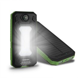 Wholesale Iphone Battery Lighting - Waterproof Travel Solar Power Bank Dual USB Solar Battery Universal Portable Charger powerbank With LED Camp Light for iPhone