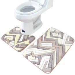 Wholesale Absorbent Doormat - Wholesale- 2pcs set classic bathroom toilet carpet mat U type coral fleece anti slip water absorbent bath doormat rugs classic retro style