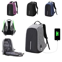 Wholesale Mens Travel Black Bag - Anti-theft Mens Womens Laptop Notebook Backpack With USB Charging Port Oxford Fabric Zipper School Travel Shoulder Bag