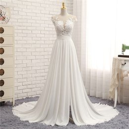 Wholesale White Dress Bride Photos - 2017 Sexy Beach Wedding Dresses Side Split Bridal Gowns Chiffon Illusion See Through A-line Appliqued Lace Summer Dress For Brides