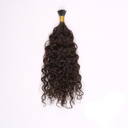 Wholesale Deep Wave Tip - Brazilian Remy Hair Pre-bonded Hair Extensions I-tip Deep Wave Keratin Hair Extensions Free Shipping #2 Darkest Brown 1s g 50g pack