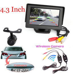 "Wholesale Tft Wide - Night vision 2.4 Wireless HD Reversing Backup Wide Angle CCD Rear View Camera + 4.3"" TFT LCD Car Reverse Rear View Monitor"