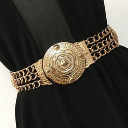 leather flower belts Promo Codes - Wholesale- Fashion gold carved flower metal chain waist belt for women party dress decoration elastic belts wide girdle high quality female