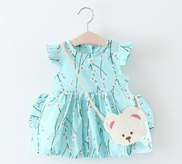 Wholesale Korean Dresses New Fashion - 3 color 2017 Korean style Summer new fashion new arrivals kids cute Peach blossom printed dress little bear bag cotton dress free shipping