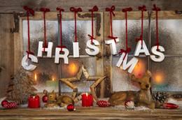 Frohe Weihnachten horizontale Fotografie Backdrops Vintage Fenster Kerze Licht Stern Deer Kinder Kinder Foto Studio Hintergrund Holzboden von Fabrikanten