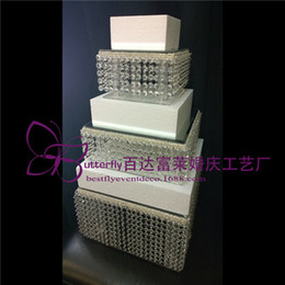 Wholesale Acrylic Cupcake - 3 Tier Crystal Cake Stand Square Acrylic crystal chandelier Cupcake stand Wedding Anniversary Party Display Tools