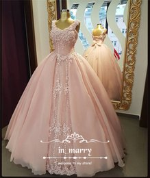 Wholesale Sexy Dress 18 - Blush Pink Ball Gown Vestidos De 15 Anos 2017 Quinceanera Dresses Vintage Lace 3D-Floral Princess Masquerade 18 Birthday Prom Party Gowns