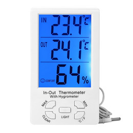 Wholesale Large Digital Lcd Clock - Digital Indoor Outdoor LCD Clock Thermometer Hygrometer Temperature humidity Meter C F Large Screen KT-905 KT905 906 with blue backlight