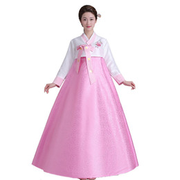 Wholesale Korean Two Piece Dresses - New Women's Korean Traditional Costume Long Sleeve Hanbok Dress Halloween Cosplay For party 5 colors Free shipping