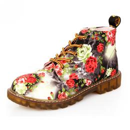 Wholesale Retro Square Heels - Fashion Retro Printing Autumn ankle boots for women flat heel Cotton shoes woman platform Martin boot