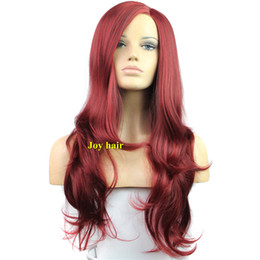 Wholesale Long Cheap Red Hair Wig - Synthetic for Women Long Wavy Hair Wig African American Wig Heat Resistant Cheap Fake Hair Wine Red Lolita Wig
