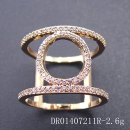 Wholesale 14k Yellow Gold Wedding Bands - 2017 Fashion Jewelry Wedding Ring white zircon hot sale Rhodium Plating yellow DR01407211R free shipping