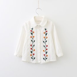 Wholesale Wicker Wholesalers - Everweekend Girls Wicker Floral Embroidered Blouses Sweet Baby White Color Shirts Cute Kids Button Turn-down Collar Fall Tops