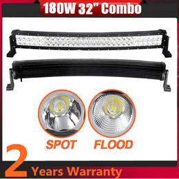 Wholesale Ford Front Bumpers - 32 Inch 180W High Power Curved LED Light Bar For Boat Off-road Truck Jeep Ford Tractor Trailer 4WD SUV Combo Beam Work Driving Bumper Lights
