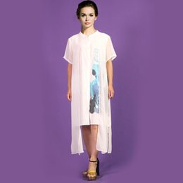 Wholesale Hand Paint Dress - European station 2017 summer new European and American big silk dress, mulberry silk hand painting, short sleeved big pendulum dress