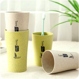 Wholesale Gargle Cup - Couple Brushing Toothbrush Cups Bathroom Sets Toothbrush Comfortable Feel Straw wheat Drinking Cup Mug Wash Bottle Gargle Cup