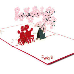 Wholesale Blossom Cards - Free Shipping New Romantic Cherry Blossom Sakura Love 3D Pop Up Greeting Card Love post Cards