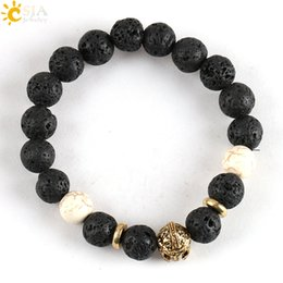 Wholesale Turquoise Bracelets Real - CSJA Real Nature Black Lava Rock Volcanic Stone Howlite White Turquoise Beaded Charm Bracelets Men Women Ancient Gold Strand Jewelry E122