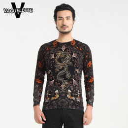 Wholesale Dragon Knit - Wholesale- Novelty Chinese Dragon Sweater Masculino 3D Printed Floral Pattern Pull Knitted Thin Slim Fit Autumn Chandail Homme M-4XL