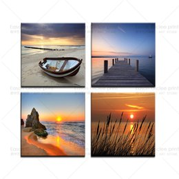 Wholesale Large Piece Artwork - 5 Pieces Large Canvas Print Modern Abstract Wall Art Painting Picture On The Wall-Seascape HD Print Painting On Canvas Artworks