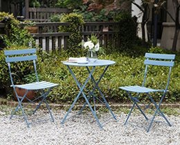 Wholesale Folding Garden Tables - Garden Premium Steel Patio Bistro Set, Folding Outdoor Furniture Sets, 3 Piece Patio Set of Foldable Table and Chairs