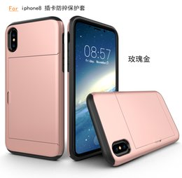Wholesale Plastic Id Pouch - For Iphone 8 Sliding Card Holder Wallet Case Cover ID Slot Dual Layer Protective Hard Shell Soft TPU Rugged Bumper Armor tough