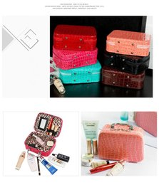 Wholesale Wholesale Makeup Box Cases Professional - Fashion New Style Women Mini Cosmetic Bags&Case High Quality Alligator Grain Makeup Box With Mirror Professional Ladies Bag