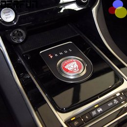 Wholesale Black Jaguars - BLACK or RED Jaguar XF XE XJ F-PACE F PACE Aluminium Gear Shift Knob Ring Cover Decoration Sticker Interior Moldings