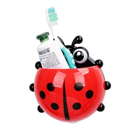 Wholesale Tooth Brush Toothpaste - Wholesale- 1PC Ladybug toothbrush holder Toiletries Toothpaste Holder Bathroom Sets Suction Hooks Tooth Brush container ladybird on sale