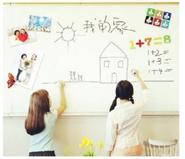 Wholesale Wholesale Whiteboard Pens - 45*200CM PVC Whiteboard Wall Stickers Vinyl Removable DIY White Board Sticker for Kids With Marker Pen With Retail Package CCA7255 50pcs