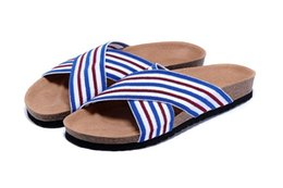 Wholesale Men New Style Sandals - New Style Famous Brand Arizona With Orignal Brand Logo Men Woman Flat Sandals Casual Classics Summer Beach Slippers Cotton Fabric Slippers