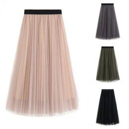 Wholesale Ladies Long Tutu Skirts - Women Tulle Skirts Elastic High Waist Lady Long Skirt Womens Tutu Maxi Pleated Skirt 85cm