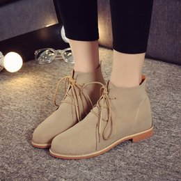 Wholesale Wholesale Shoes For Women Brands - Wholesale-Brand Fashion Suede Leather Ankle Boots For Women Lace-Up Rubber Shoes Women Leather Flat Shoes Martin Boots Ladies Oxfords