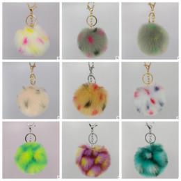 Wholesale Metal Heart Ornaments - Fur Bag keychain colorful pompom Rabbit Fur Ball Keychain cubre handbag rabbit pendant pompom ornaments KKA2632