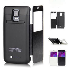 Wholesale Galaxy Note Case Battery Backup - 4800 Mah View Window Design Flip PU Leather Battery Case Cover For Smartphone Galaxy Note 4 N9100 External Backup Charger Case