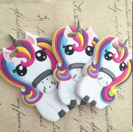 Wholesale Iphone 4s Case Rainbow - Cute Rainbow Unicorn Cases Horse Animal Design Soft Silicone Case for iPhone 4 4s 6 6s 5 5s SE 7 7Plus 8 8Plus