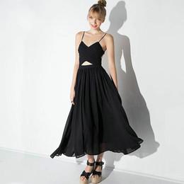 Wholesale Cutout Waist Dress - 2016 Summer Black Sexy Cutout Racerback Spaghetti Strap Long Holiday Sleeveless Backless Chiffon High Waist Dresses Women